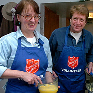 The Salvation Army happy volunteers